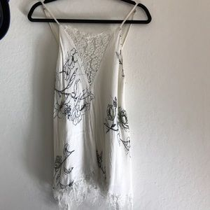 KIMCHI BLUE White gauzy floral and lace tank